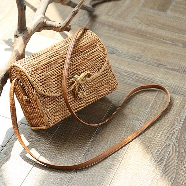 2018 new Square bag single shoulder skew spanning hand-made long cane vine woven bag of ancient Persian MIA Beach bag