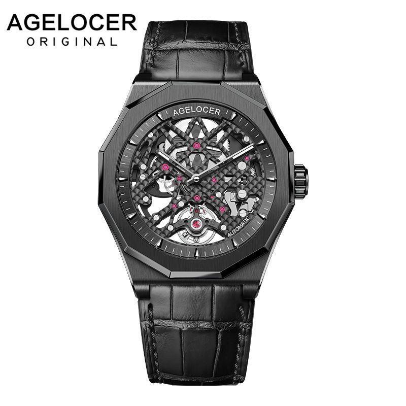 AGELOCER Männer Uhr Top Marke Schweizer herren Uhr Mode Uhren Relogio Masculino Sport Armbanduhr Schwarz Uhr Männliche Mechanische