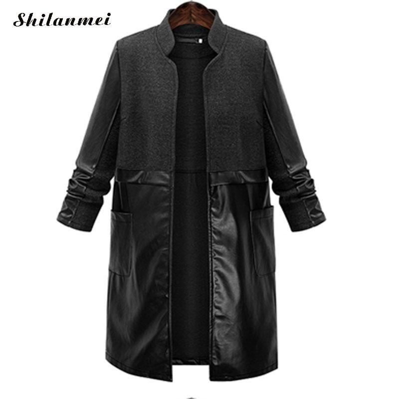 l to 5xl pu Womens coats trench coat for women uzun ceket coupe vent femme capuche winter long casacos de inverno feminino