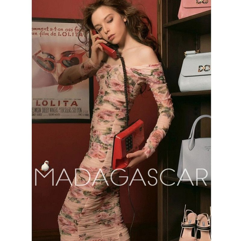 2018 summer high-end design Net yarn pressure plait elegant sexy Package buttocks Pink rose printing Holiday party dress quality