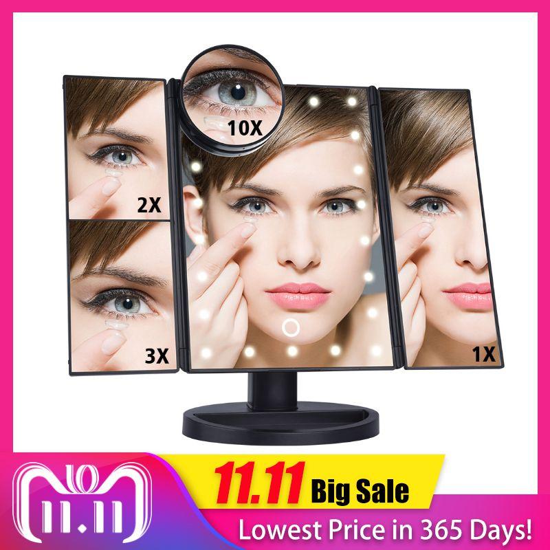 LED Touch Screen 22 Light Makeup Mirror Table Desktop Makeup 1X/2X/3X/10X Magnifying Mirrors Vanity 3 Folding Adjustable Mirror
