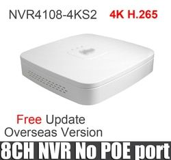 Dahua 8ch nvr NVR4108-4ks2 4k network recorder replace NVR4108 8 channels Smart 1U Mini NVR H.265 8mp resulotion with logo