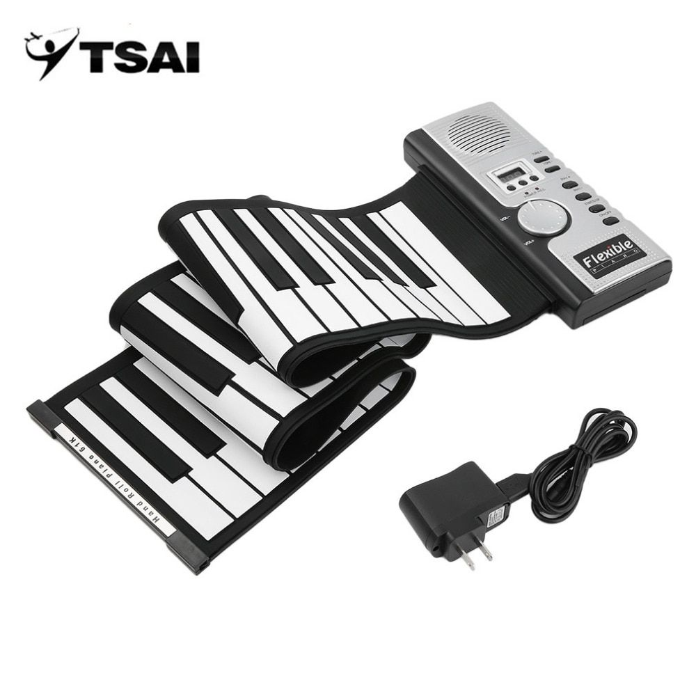 TSAI Piano Electronic Black and White 61 Keys Universal Flexible Roll Up Soft Keyboard Piano for guitarra players popular new