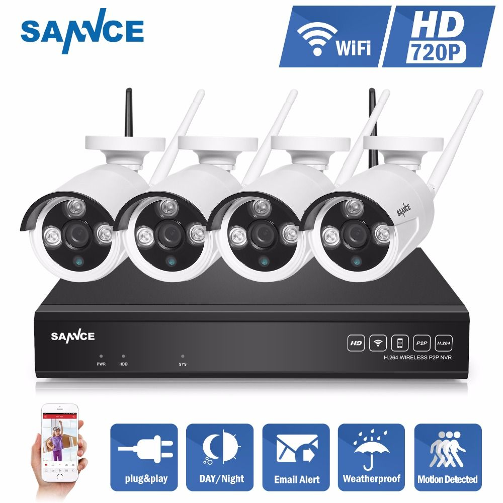 SANNCE NVR kits 4CH IR HD Home Security Wireless NVR Kits IP Camera 720P CCTV Set Wifi Cameras Video NVR Surveillance System