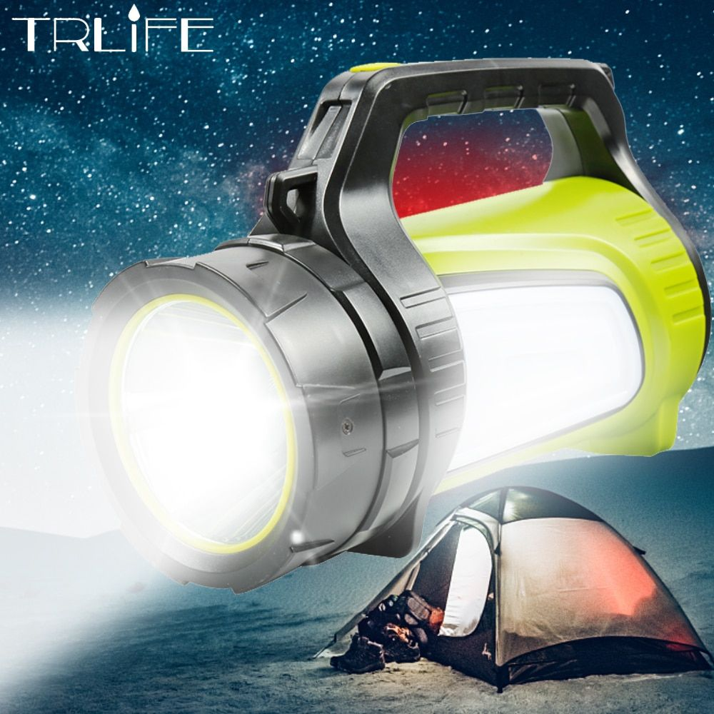 High Power LED Searchlight Lantern Built-in Battery Handheld Portable Flashlight Torch Rechargeable Waterproof Hunting Lamps
