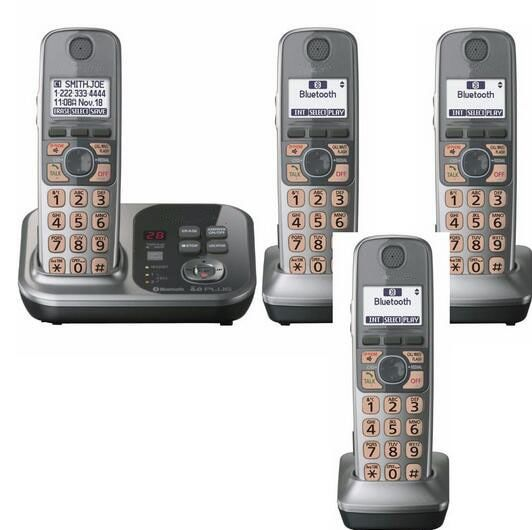 4 Handsets KX-TG7731S 1.9 GHz Digital wireless phone DECT 6.0 Link to Cell via Bluetooth Cordless Phone with Answering system