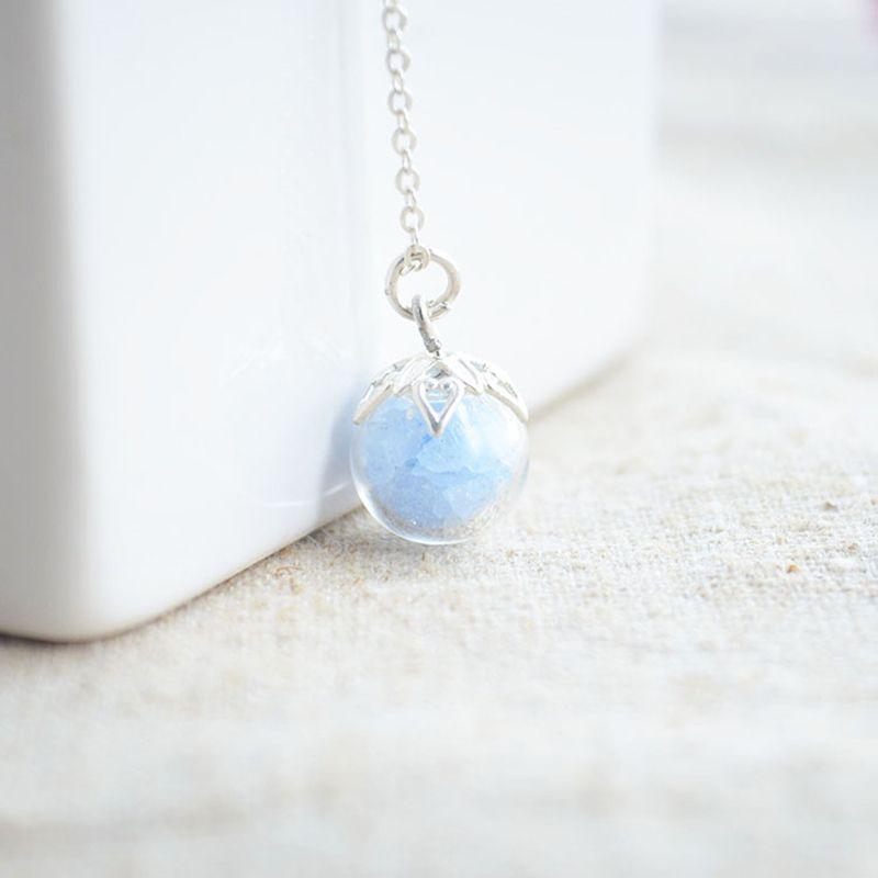 Luminous Glow In The Dark Piedra azul Bola de Cristal de la Cadena de Plata de Ley 925 Mujeres Collar de la Declaración Gargantilla Moda Boho Vintage