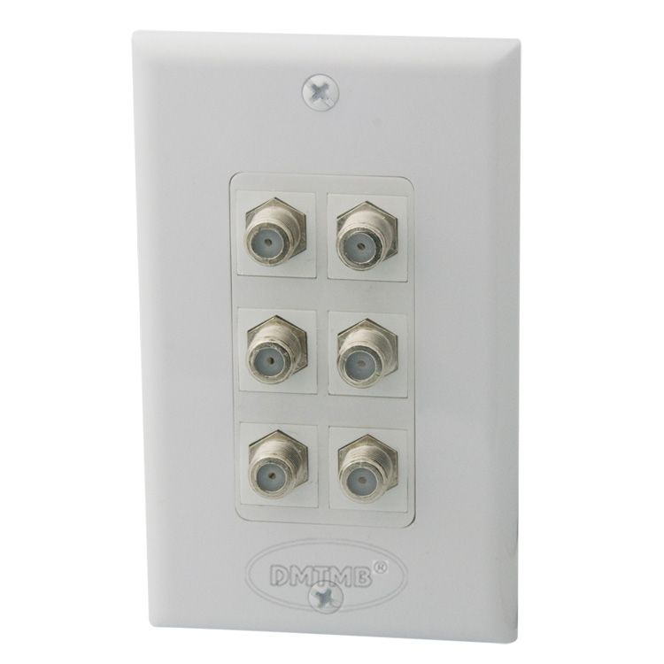 1 Gang 6 X F head TV wall plate with female to female connector