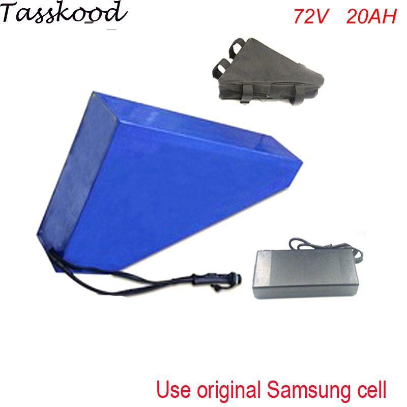 Tiefe zyklus 72v 20ah Li ionen Akku Leistungsstarke 72v 2500w Dreieck eBike Batterie mit dreieck tasche und ladegerät Für Samsung zelle