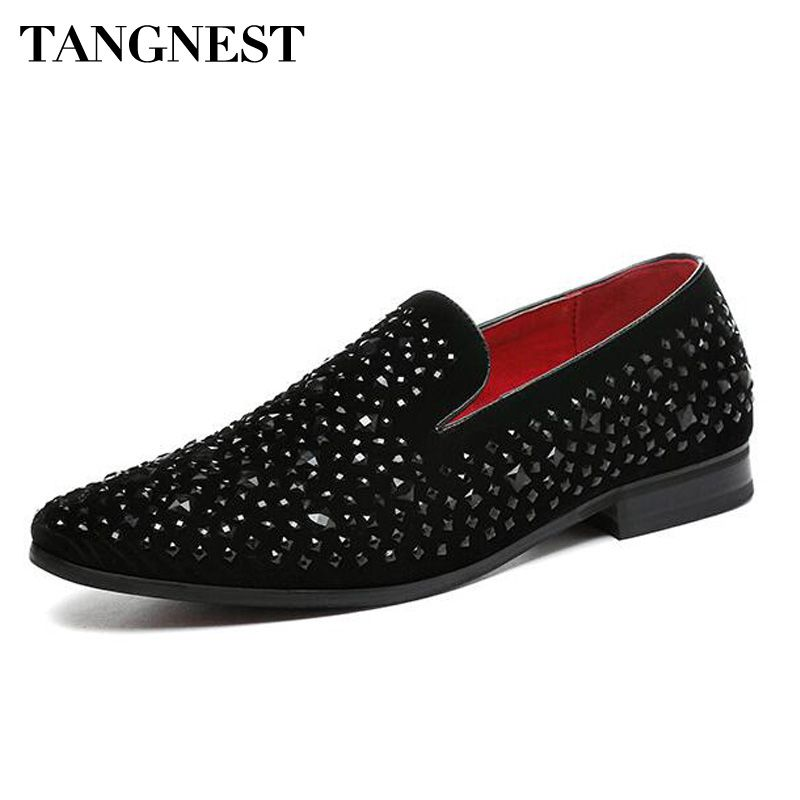 Tangnest Luxury Rhinestone Men Loafers Handmade Leather Pointed Toe Wedding Shoes Fashion Men's Dress Shoes Size 37~45 XMP812