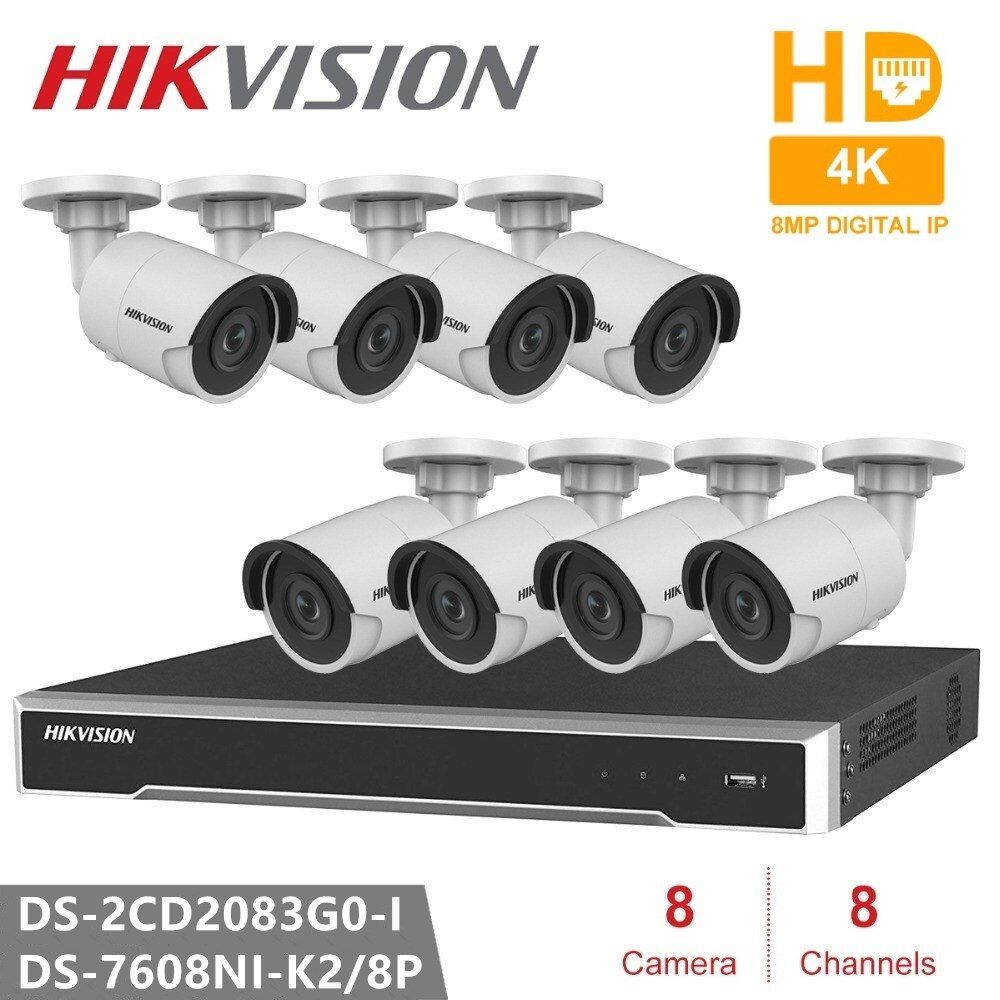 Hikvision Video Überwachung System 8CH NVR + 8 PCS Kamera DS-2CD2083G0-I 8MP Kugel Netzwerk Kamera POE H.265 Sicherheit Kamera