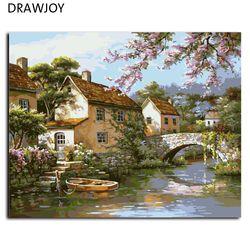 Пейзаж Безрамное картину живопись по номерам DIY картина маслом на холсте украшения дома для Гостиная 40*50 см G428