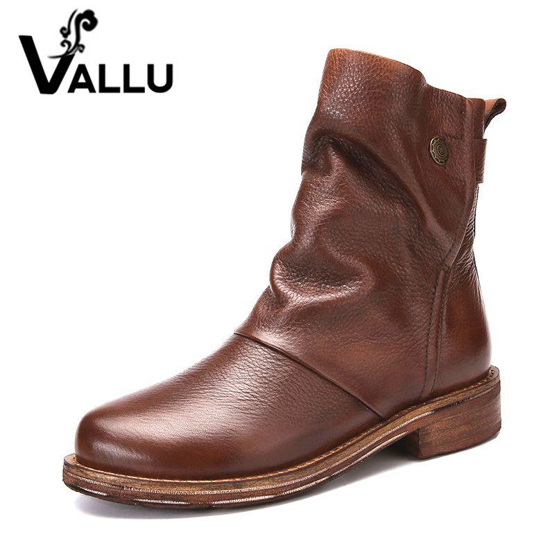 VALLU 2019 fait main femmes chaussures bottines en cuir véritable plissé rond orteils bas talons Original en cuir naturel dames bottes