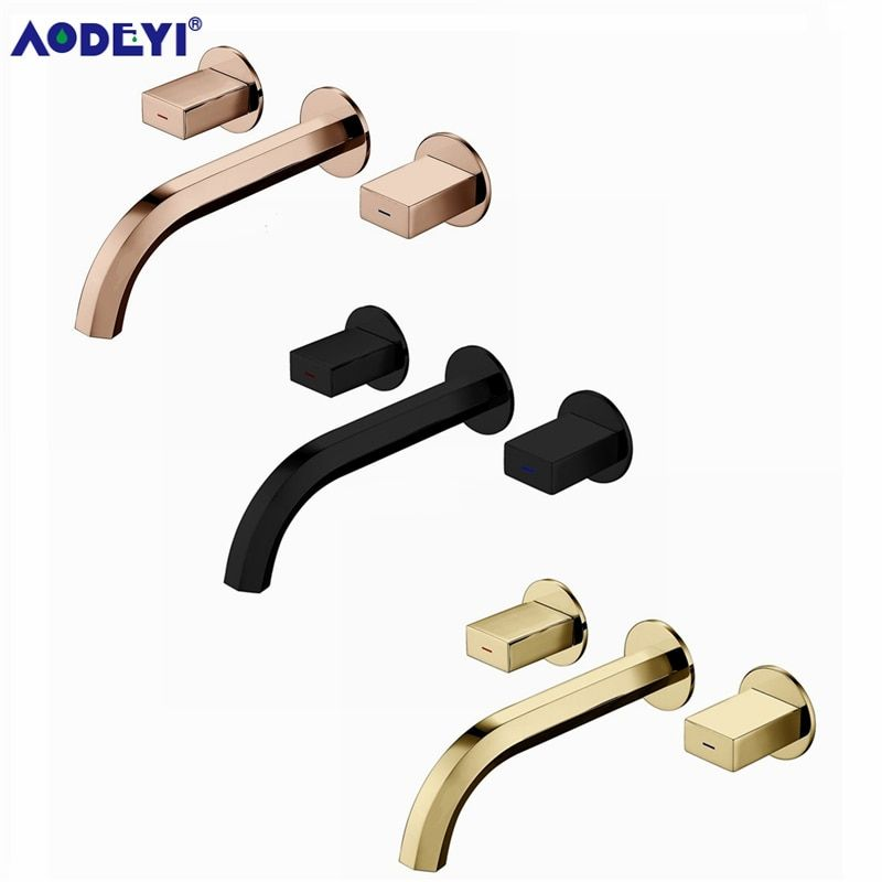 Brass Double Handle Wall Mounted Bathroom Sink Faucet Hot & Cold Basin Faucet Basin Tap Rotation Spout Chrome/Black/Gold