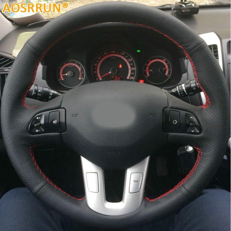 AOSRRUN couvre-volant de voiture cousu main en cuir pour Kia Sportage 3th 2011-2014 Kia Ceed 2010 accessoires de voiture
