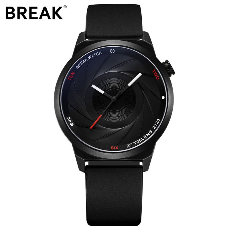 BREAK Men Luxury Brand Fashion Casual <font><b>Rubber</b></font> Band Aperture Quartz Wristwatches Unique Unisex Women Creative Sports Watches reloj