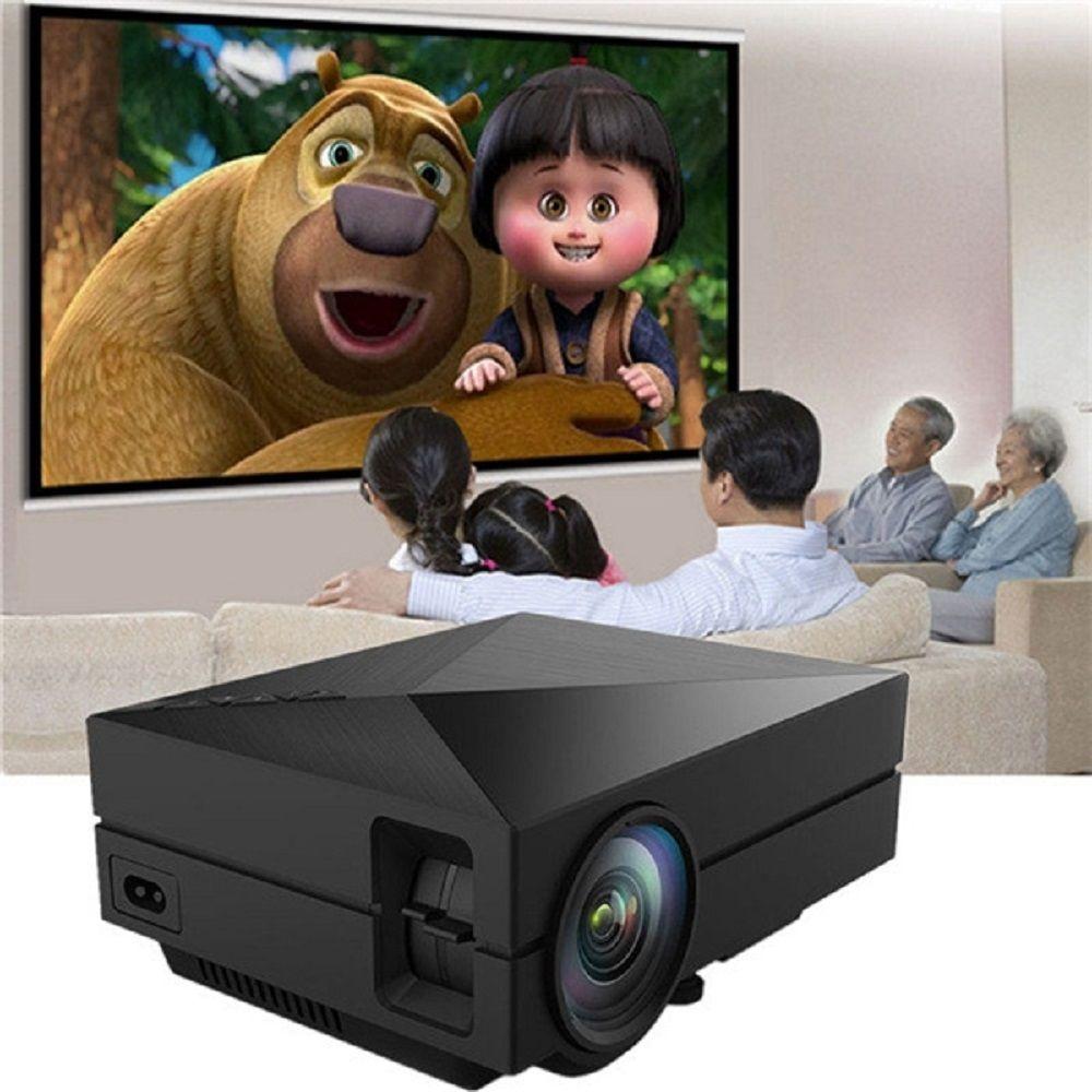 Gm60 Портативный ЖК-дисплей проектор 1000 люмен 800x480 Пиксели 1080 P HD дома Театр Кино видео proyector с AV HDMI SD USB Порты и разъёмы