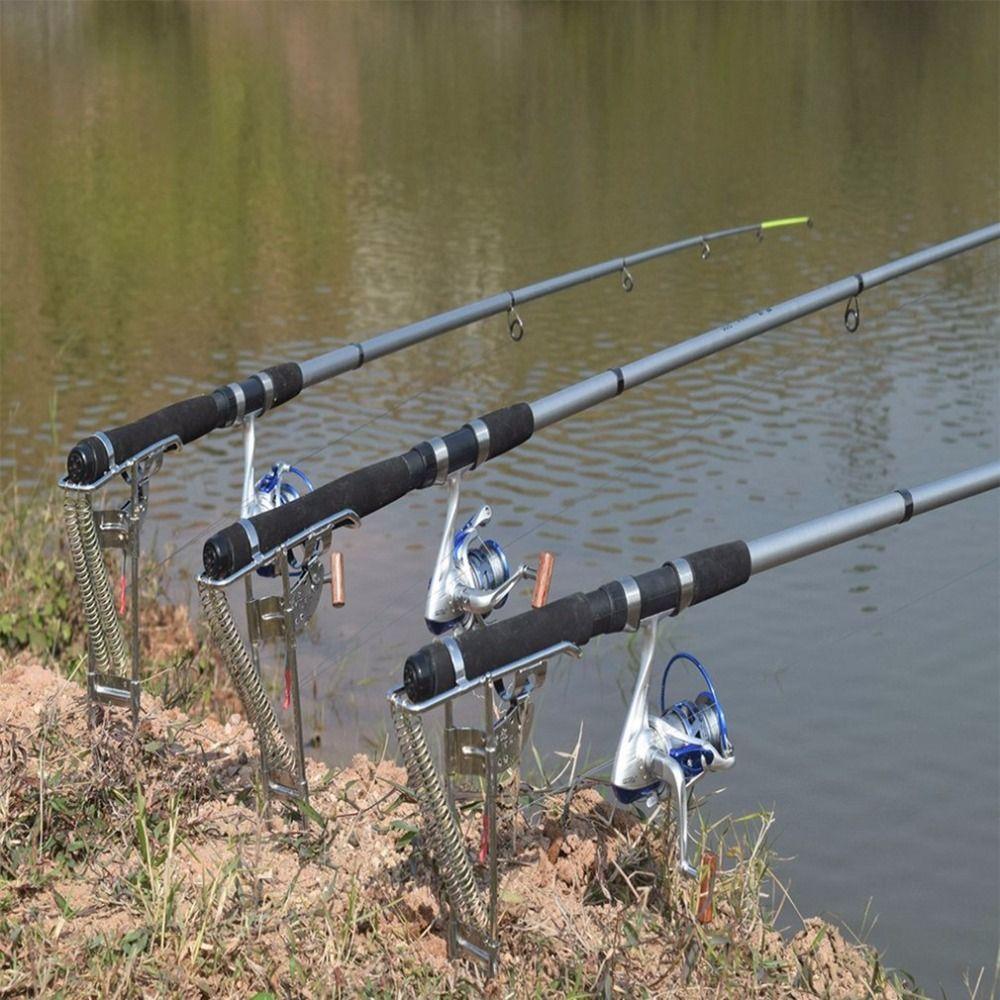 Automatische Einstellbare Angelgerät Halterung Doppel Frühling Angelrutenhalter Winkel Fisch Pole Halten Halterung Außen Edelstahl Neue