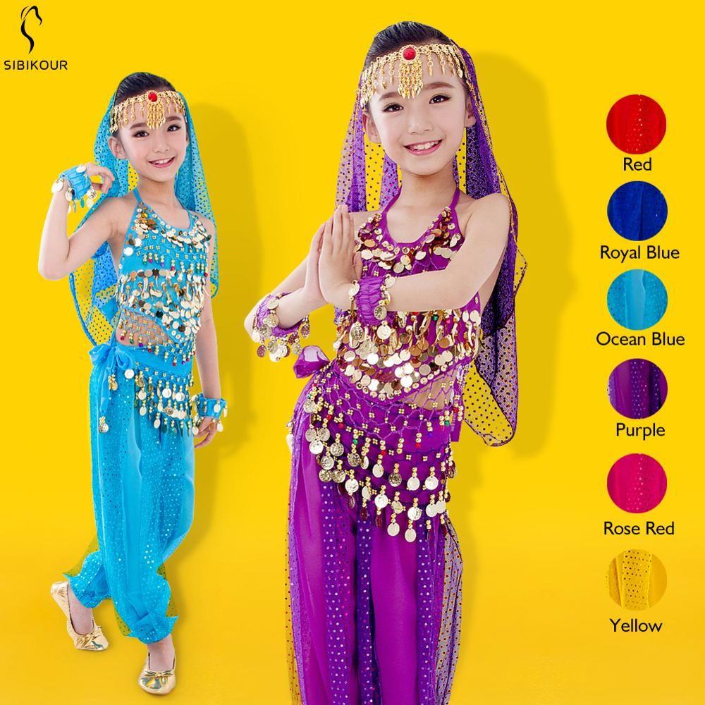 Enfants danse du ventre Costume ensemble 2019 nouveau indien Bollywood Oriental egypte ventre danse robe pour filles Bellydance Top pantalon 6 couleurs