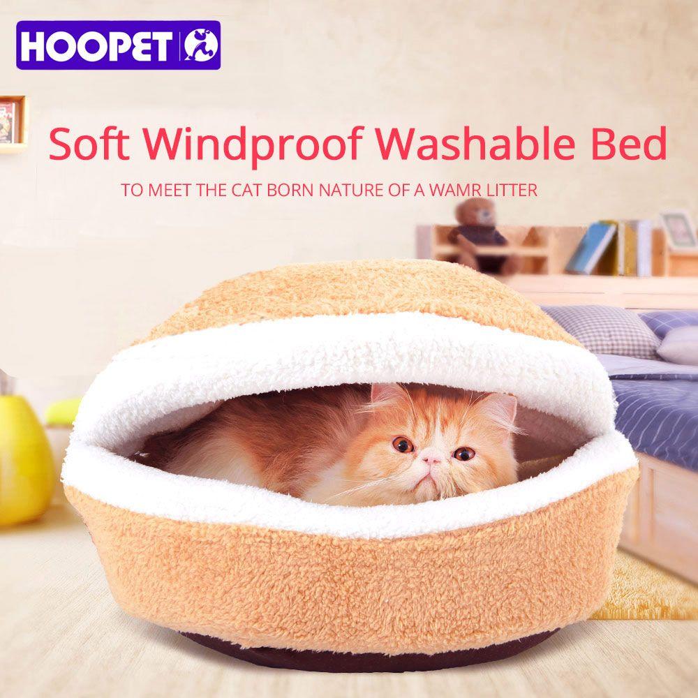 HOOPET Warm Cat Bed <font><b>House</b></font> Hamburger Bed Disassemblability Windproof Pet Puppy Nest Shell Hiding Burger Bun for Winter