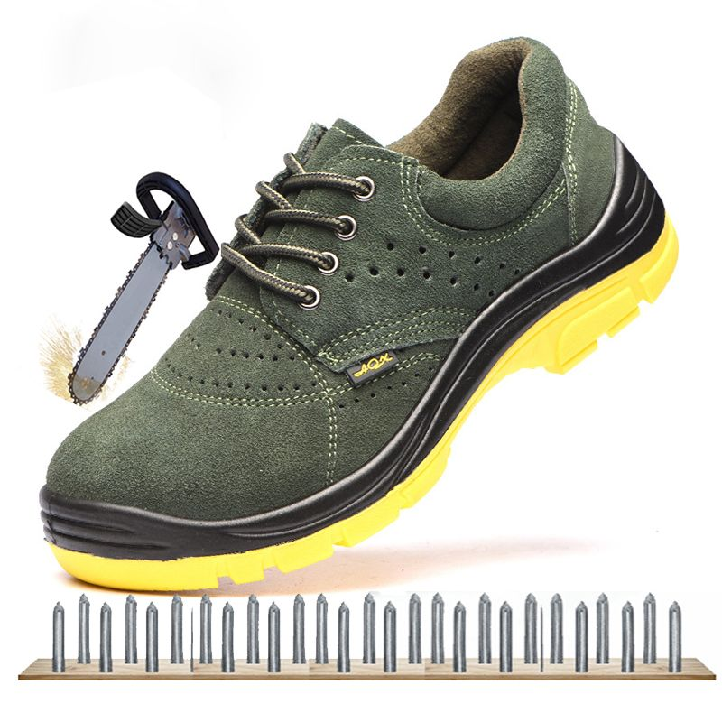 Men Breathable Labor Insurance Safety Shoes Steel Toe Cap Military Work & Safety Boots High Quality Men Leather Puncture Proof