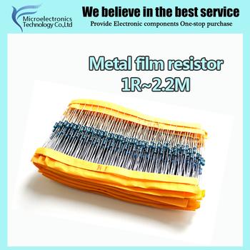 100 pcs 1R ~ 2.2 M 1% Métal film résistance 1/4 W série 10 K 22 K 47 K 100 K 100 220 1K5 2K2 100R 220R 1 K 1.5 K 2.2 K 4.7 K 4K7 ohm