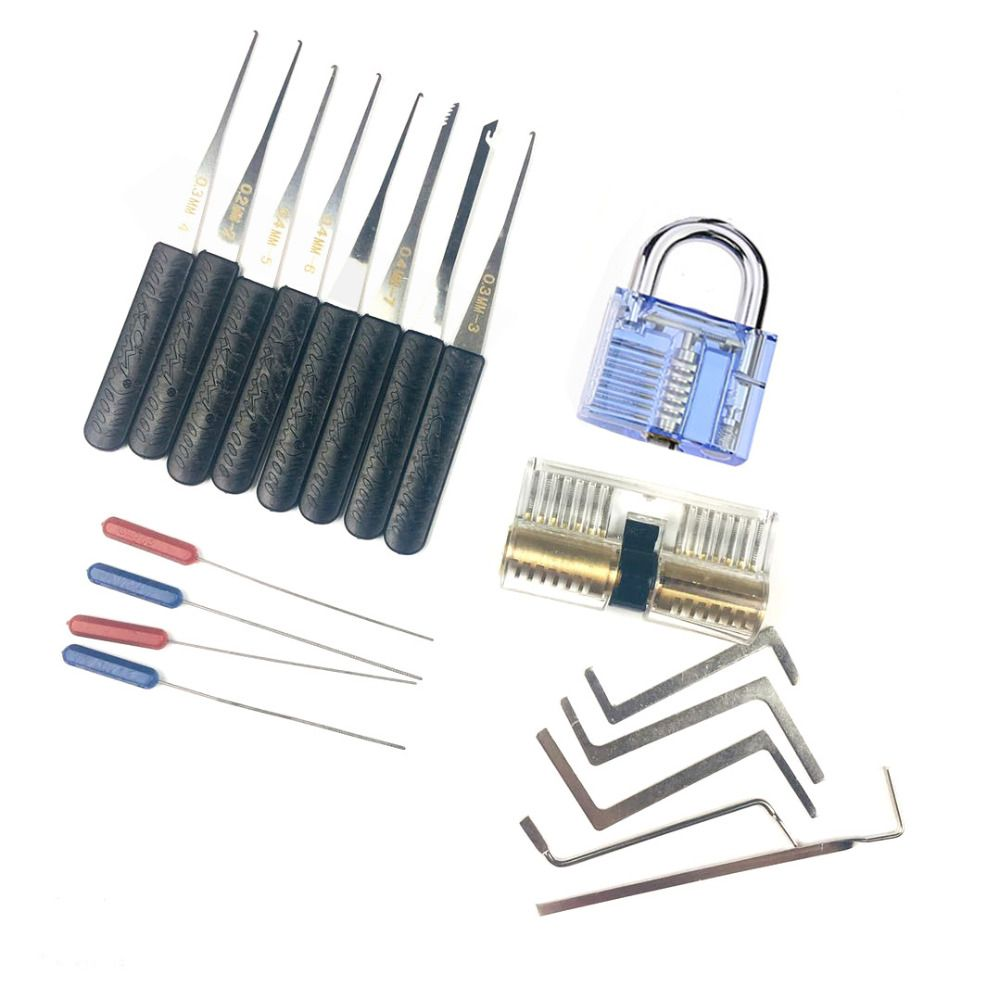 Free Shipping Locksmith Tension Wrench Tool , Broken Key Extractor Tools with Transparent Practice Pick Lock Combination