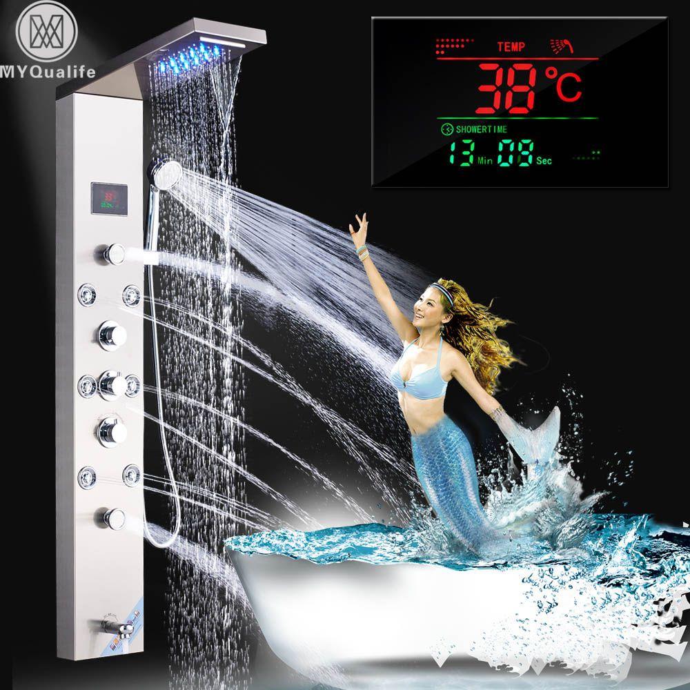 Edelstahl LED Licht Dusche Panel Wasserhahn Wand Montiert SPA Massage System Dusche Spalte System Digitale Temperatur Bildschirm
