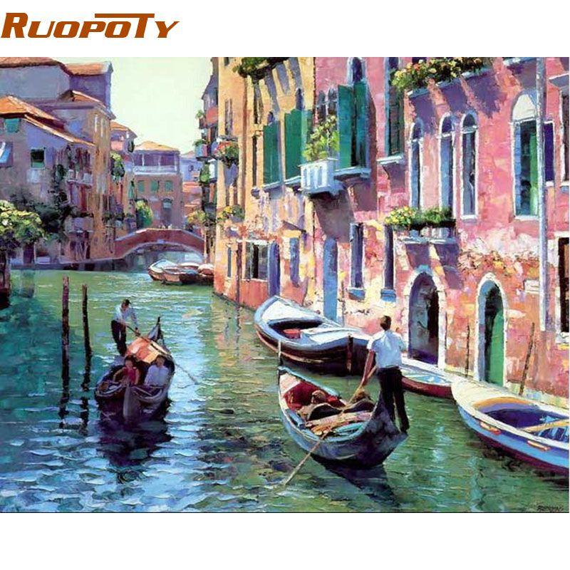 RUOPOTY cadre venise paysage peinture à la main par numéro décoration de la maison peint à la main moderne peinture à l'huile sur toile mur Art photo