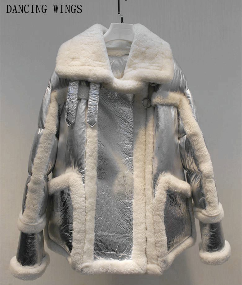 2018 new winter coat women real fur coat sliver Genuine Leather Sheep Double-faced Fur jacket white duck down Motorcycle jacket