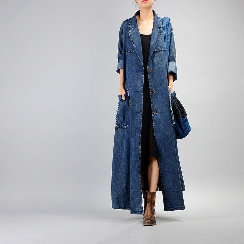 Free Shipping 2018 New Vintage Denim Long Coat For Women Plus Size Loose Tassels Outerwear Long Sleeve Dresses Single-breasted