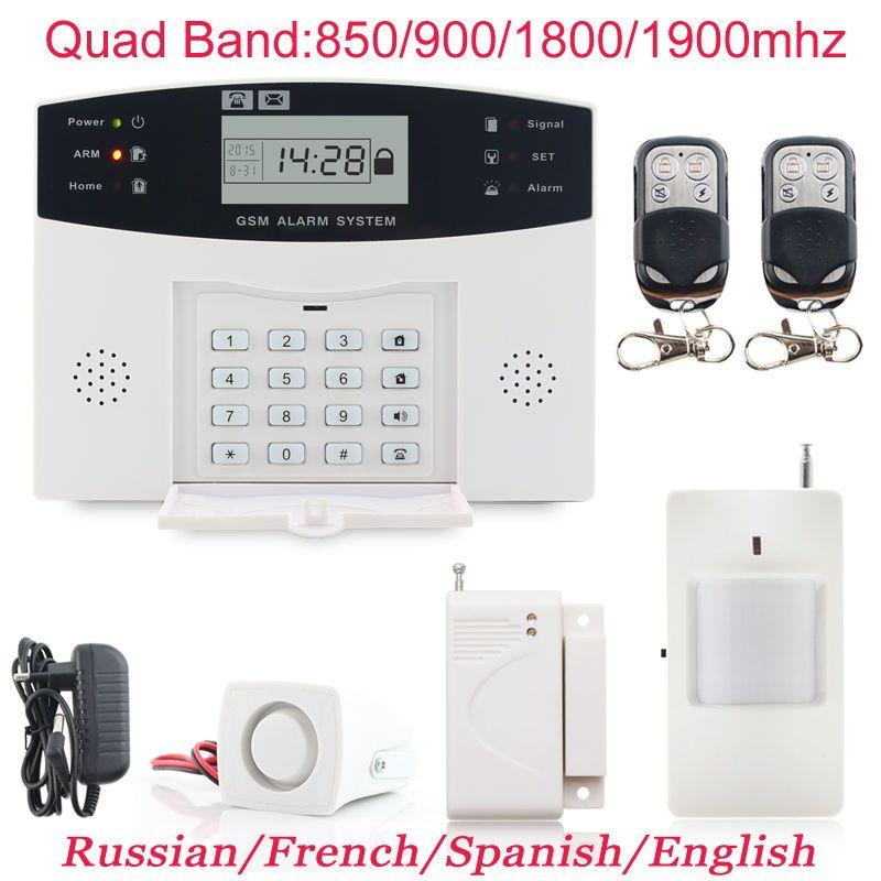 Teclado LCD wireless gsm sistemas de alarma PIR Alarmas de seguridad sistema antirrobo marca Auto del sintonizador SMS de llamadas envío libre