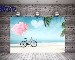 Kate Summer Beach Wedding Background Photography Bicycle Pink Balloons Photography Backdrops Photo Studio Seamless Backdrops
