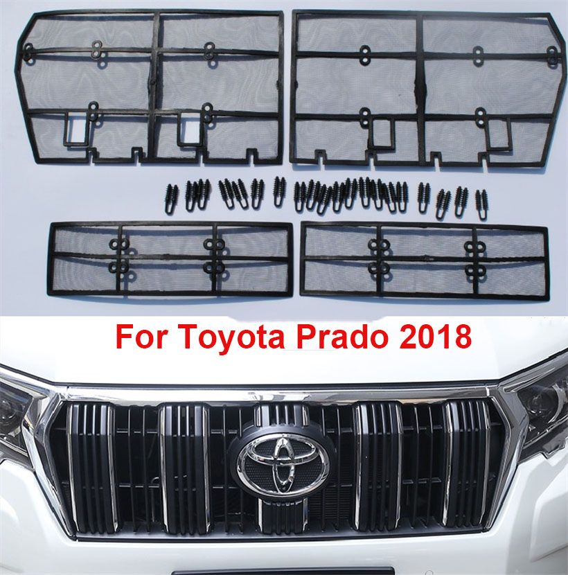4PCS Grille Insect Screening Mesh Front Grille Net For Toyota Land Cruiser Prado 2018 FJ 150 Accessories