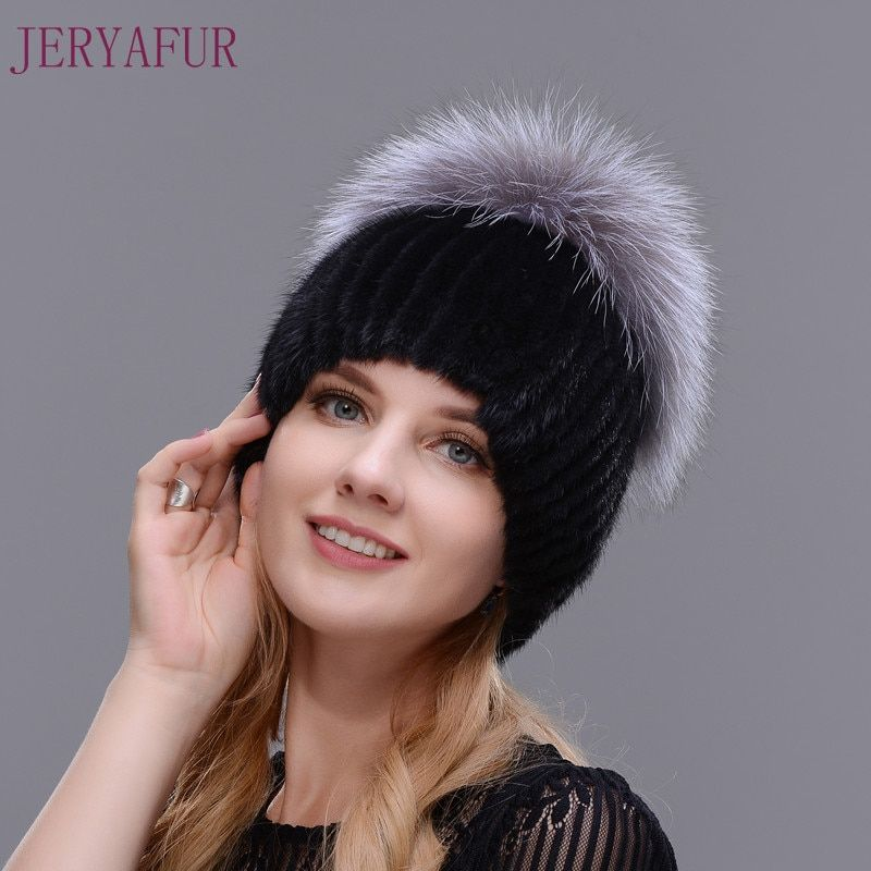 Hot Style Female Mink Fur Cap For Women Winter Warm Hat Vertical Knitted Mink With Fluffy Silver Fox Part Less On The Top Hat
