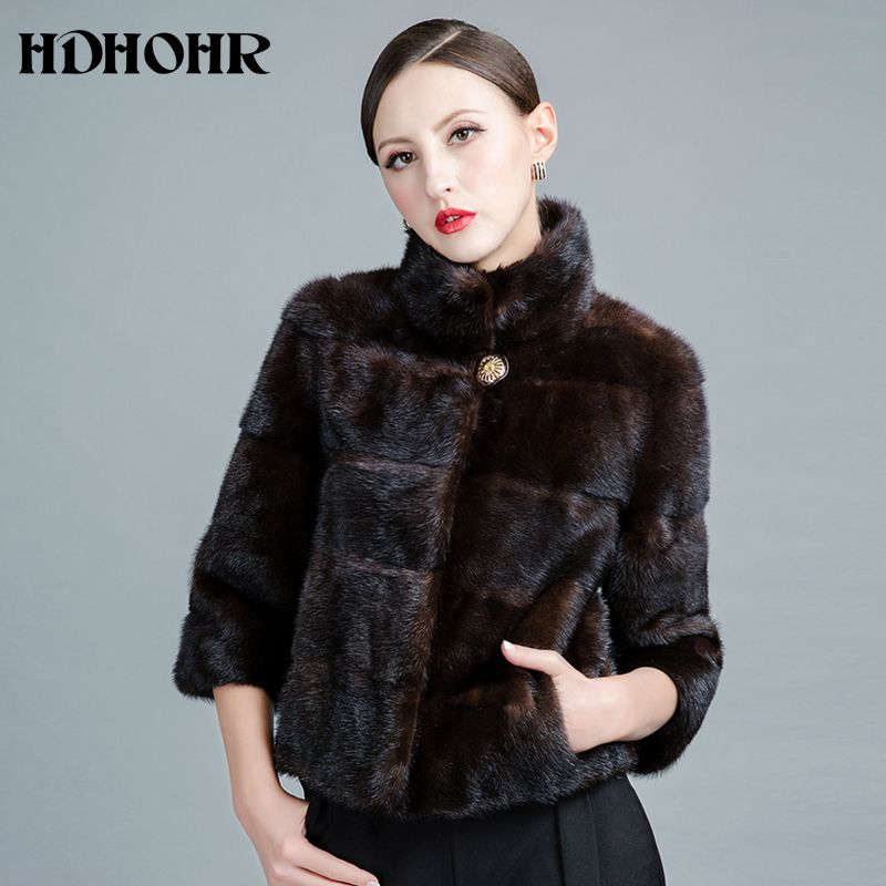 HDHOHR 2017 New Real Mink Fur Coats Of Women Genuine Good Quality Fur Vest Warm Winter Natural Mink Fur jackets