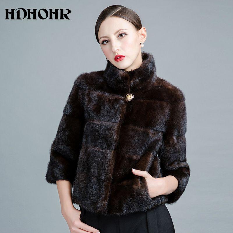 HDHOHR 2017 New Real Mink Fur Coats Of Women Genuine Good Quality Fur Vest Warm Winter Natural Mink Fur jackets
