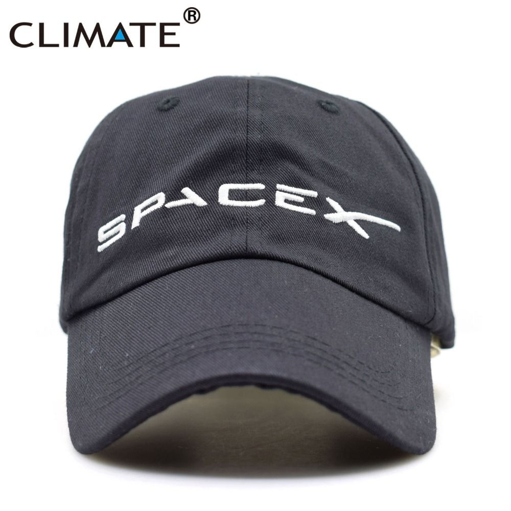 CLIMATE Men Women Cool Black Spacex UFO Baseball Hat Caps Cotton Adult Outer Space Rocket Musk Fans Sport Active Cool Caps Hat