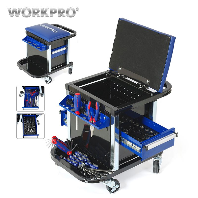 WORKPRO Tool Set for Car Repair Set of Tools Work Stool Workbench Seat
