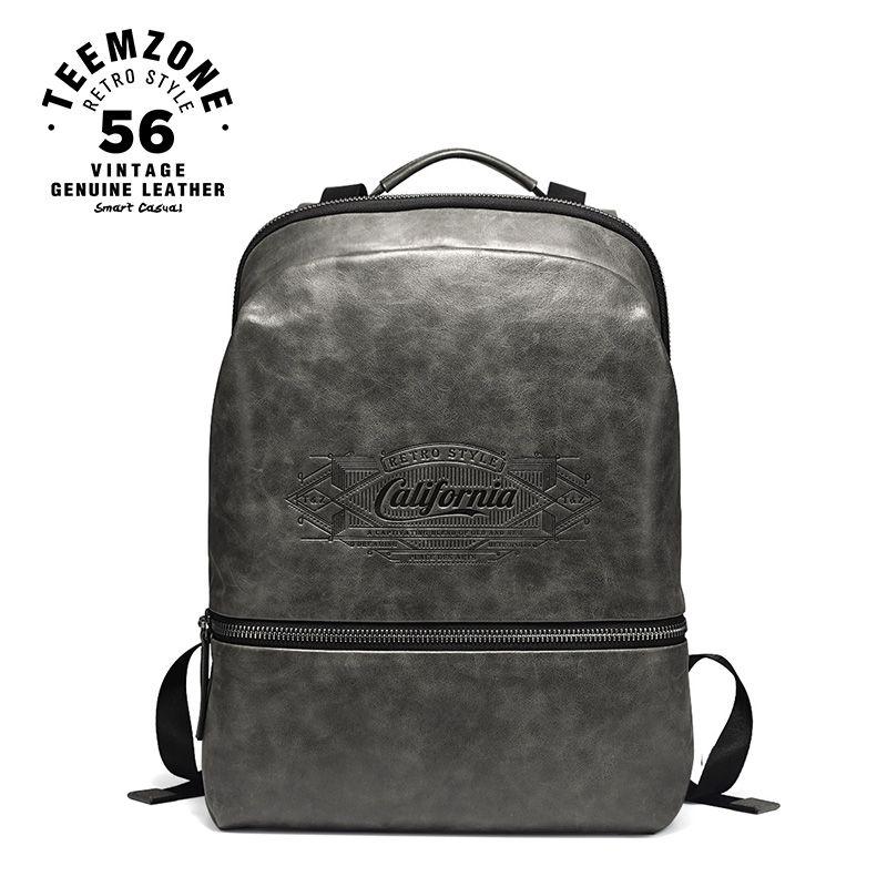 Europäischen Und Amerikanischen Stil Männer Echtes Leder Laptop Rucksack 17 Zoll Große Leder Rucksack Wasserdicht Casual Tasche J40