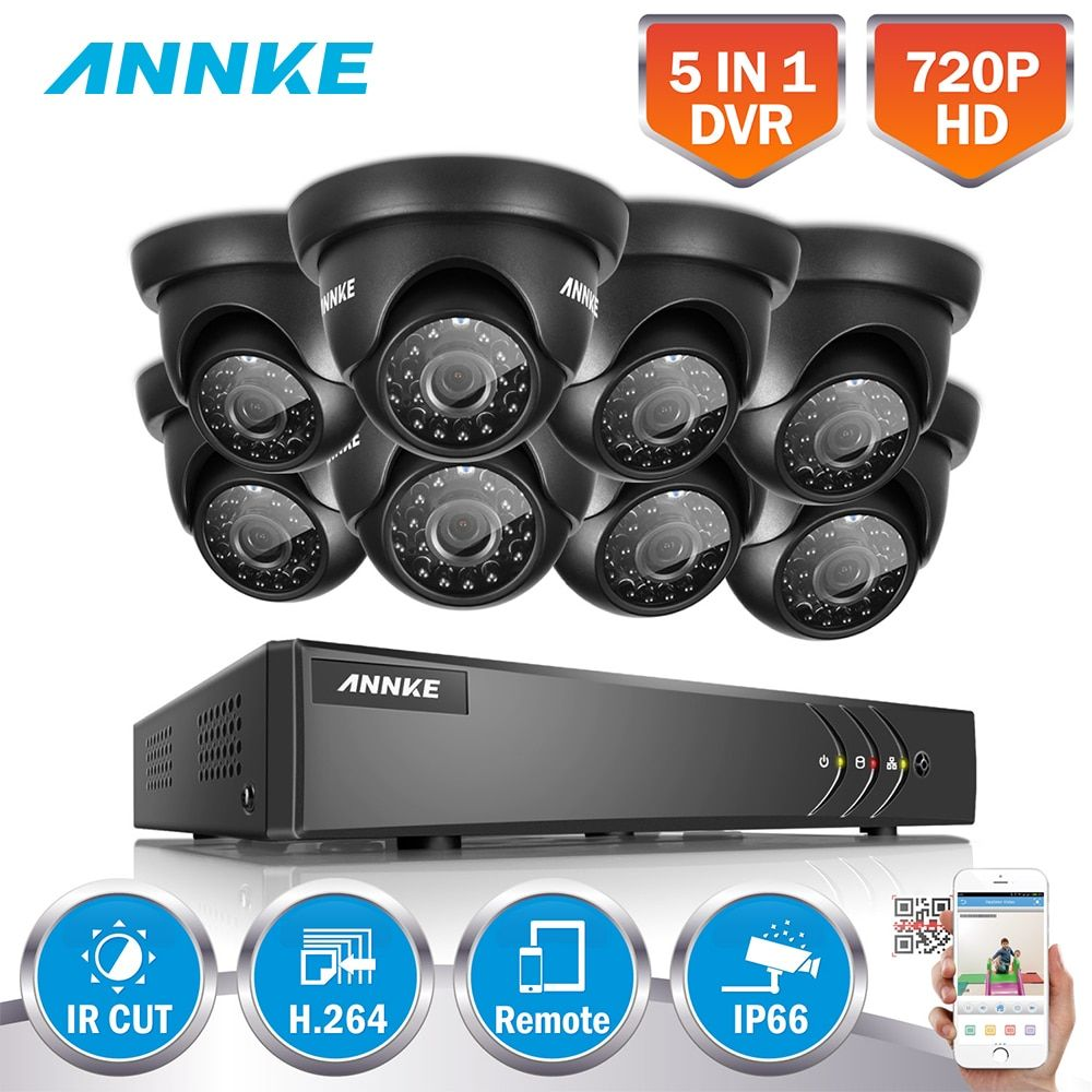 ANNKE Full HD 8CH 1080N 5IN1 Surveillance Kits DVR 720P Outdoor Fixed Dome Outdoor Weatherproof Cameras H.264+ Motion Detection
