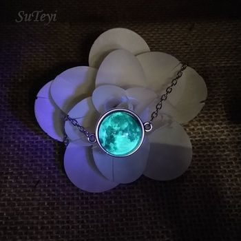SUTEYI Glow in the Darkness Crystal Bracelet Jewelry Luminous Star Series Planet Bracelets & Bangles Glass Cabochon Bracelets