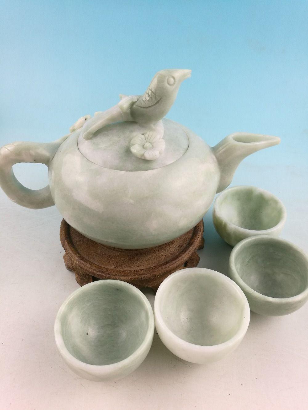 China100 % Natürliche jade handgeschnitzten tasse Statuen China jade geschnitzte jade teekanne teekanne vier tassen tee Kung Fu