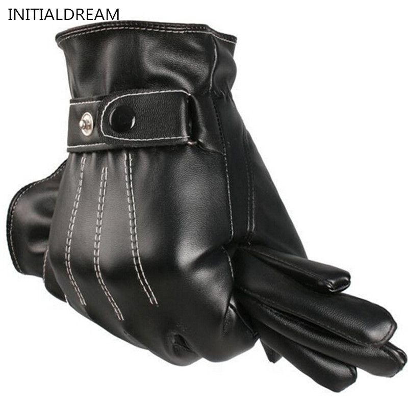 Men's Classic Black Winter Leather Gloves Sport Driving Touch Screen Gloves Male Military army guantes tacticos ST012