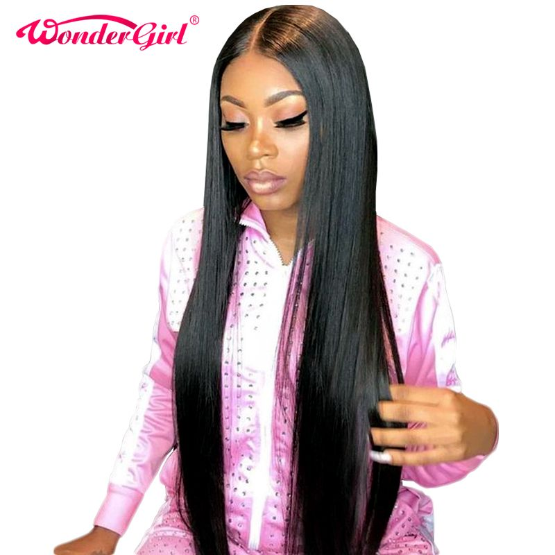 Wonder girl Glueless Lace Front Human Hair Wigs For Women <font><b>Black</b></font> Pre Plucked Brazilian Straight Lace Wig With Baby Hair Non Remy