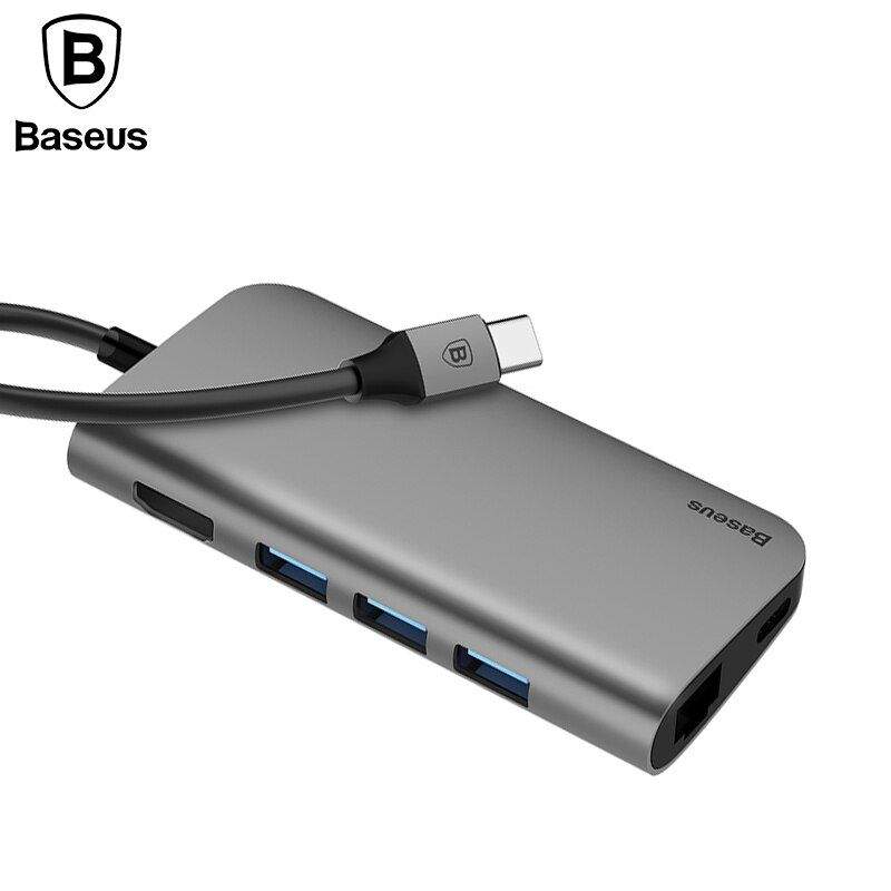 Baseus 8in1 USB Type C 3.1 HUB for Type C to 3 USB 3.0 / 4K HDMI / RJ45 Ethernet / Micro SD TF Card Reader / USB Type C OTG HUB