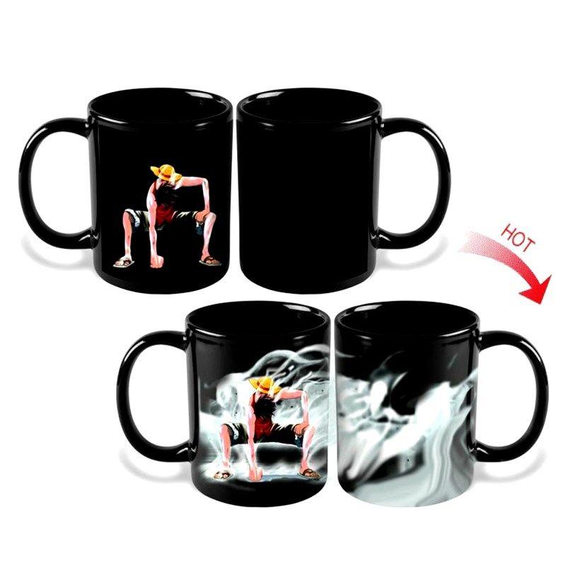 Une pièce singe D Luffy tasse tasse magique en céramique tasses à café chaud froid sensible à la chaleur couleur changeante pour ami cadeau