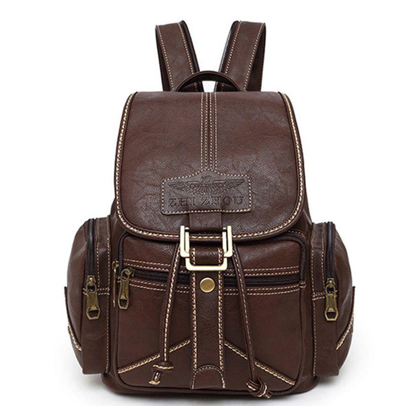 Winner Brand Women Soft PU Leather Backpack Vintage Drawstring School Backpacks Student Schoolbag Bagpack Female Retro Backbag