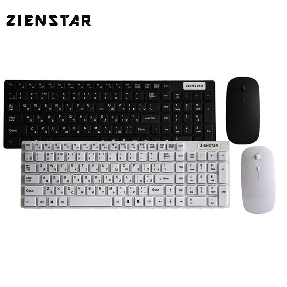 Zienstar Russian English letter 2.4G Wireless keyboard mouse combo with USB Receiver for Desktop,Computer PC,Laptop and Smart TV