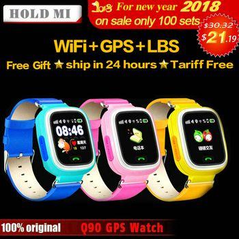 HoldMi Q90 GPS Enfant Montre Smart Watch Téléphone Position Enfants Montre 1.22 pouces Couleur Écran Tactile WIFI SOS Smart Bébé Montre q80 Q50 Q60